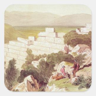 Walls of Ancient Samos, Cephalonia, 19th century Square Sticker
