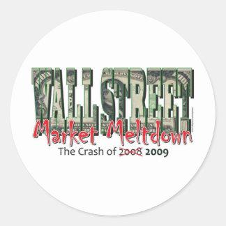 WallStreet Market Meltdown Round Sticker