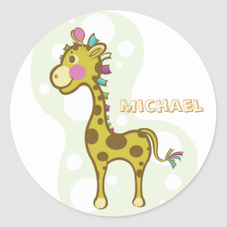 Wally the Giraffe Character Classic Round Sticker