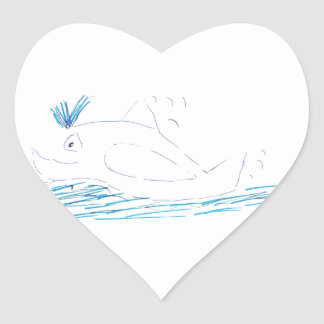 Wally Whale Heart Sticker