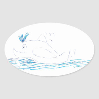 Wally Whale Oval Sticker