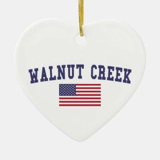 Walnut Creek US Flag Ceramic Heart Ornament