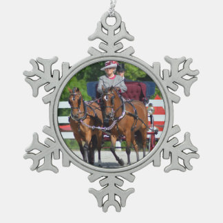 walnut hill carriage driving horse show pewter snowflake ornament