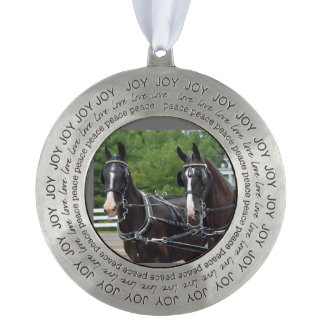 walnut hill carriage driving horse show round pewter ornament