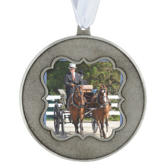 walnut hill carriage driving horse show scalloped pewter ornament