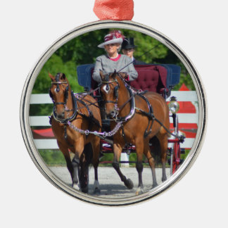 walnut hill carriage driving horse show Silver-Colored round ornament