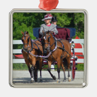 walnut hill carriage driving horse show Silver-Colored square ornament