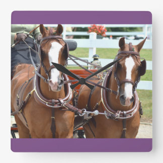 walnut hill carriage driving horse show square wall clock