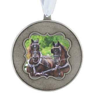 Walnut Hill Carriage Driving Show 2015 Scalloped Pewter Ornament