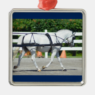 Walnut Hill Carriage Driving Show 2015 Silver-Colored Square Ornament