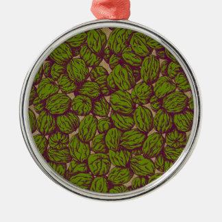 Walnut Pattern Silver-Colored Round Ornament