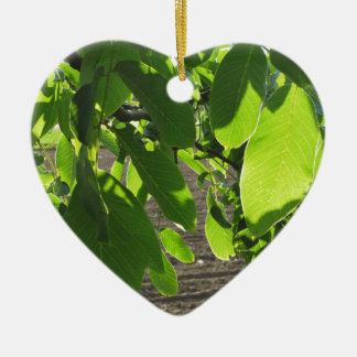Walnut tree branches with green leaves ceramic heart ornament
