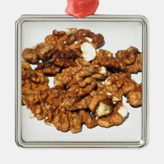 Walnuts Silver-Colored Square Ornament