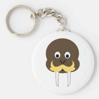 Walrus Basic Round Button Keychain