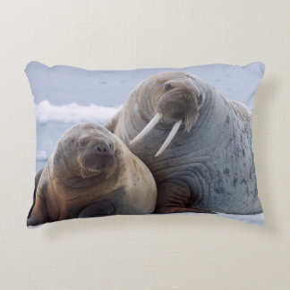 Walrus cow and calf rest on a sea ice floe decorative pillow