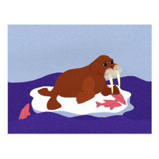 Walrus on Iceberg with Fish Postcard