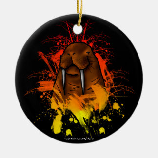 Walrus Double-Sided Ceramic Round Christmas Ornament