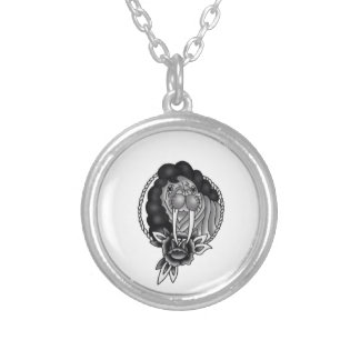 walrus with afro traditional rope frame and rose silver plated necklace