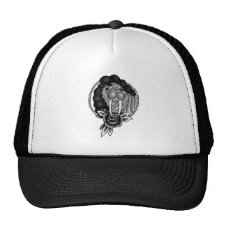 walrus with afro traditional rope frame and rose trucker hat
