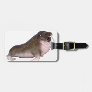 Walrus with quizzical look luggage tag