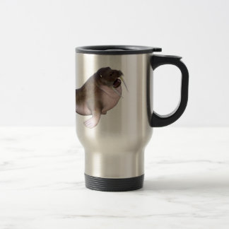 Walrus with quizzical look travel mug