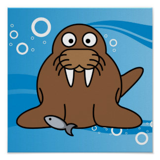 Walrus with Water Background Print