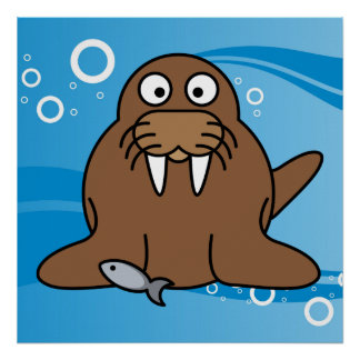 Walrus with Water Background Poster