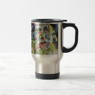 walt whitman - watercolor portrait travel mug