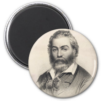 Walt Whitman Woodcut Portrait 2 Inch Round Magnet