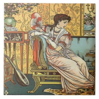 Walter Crane Beauty & Beast Repro Beauty Tile