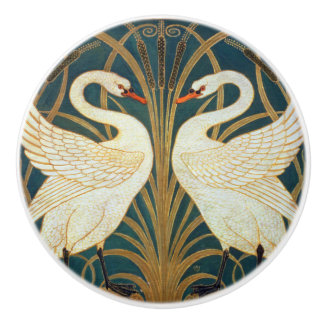 Walter Crane Swan, Rush And Iris Art Nouveau Ceramic Knob