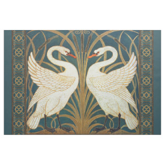 Walter Crane Swan, Rush And Iris Art Nouveau Fabric