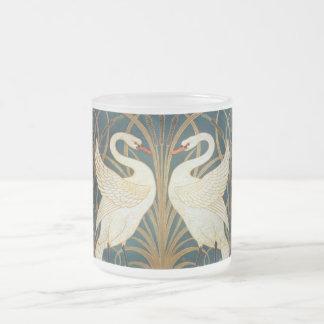 Walter Crane Swan, Rush And Iris Art Nouveau Frosted Glass Coffee Mug