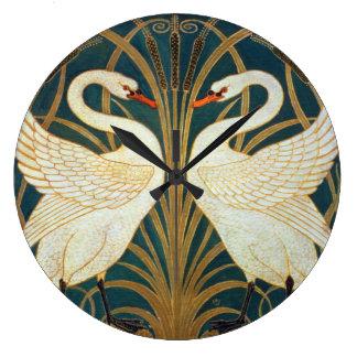 Walter Crane Swan, Rush And Iris Art Nouveau Large Clock