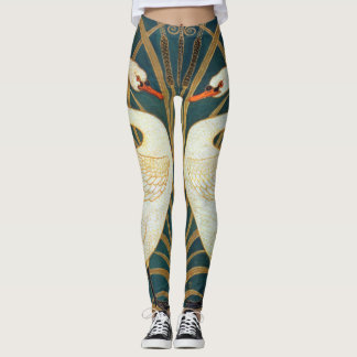 Walter Crane Swan, Rush And Iris Art Nouveau Leggings
