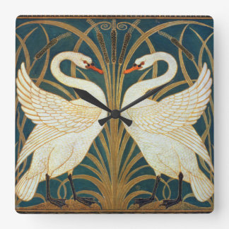 Walter Crane Swan, Rush And Iris Art Nouveau Square Wall Clock