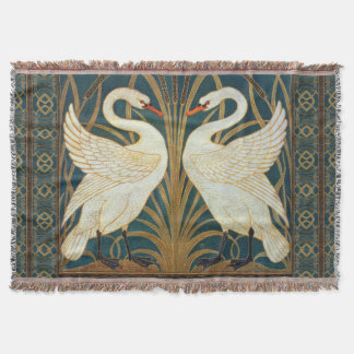 Walter Crane Swan, Rush And Iris Art Nouveau Throw Blanket