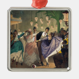 Waltz at the Bal Mabille Silver-Colored Square Ornament