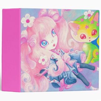 Wamono Japanese Girl With Kawaii Kitten Vinyl Binder