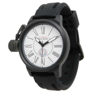 WAMS Crown Protector Black Rubber Strap Watch