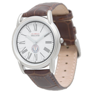 WAMS Men's Classic Brown Leather Strap Watch