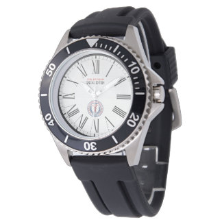 WAMS Stainless Steel Black Rubber Strap Watch