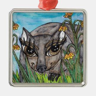 Wanda the Wombat Silver-Colored Square Ornament