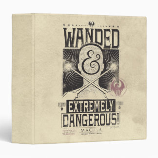 Wanded & Extremely Dangerous Wanted Poster - Black 3 Ring Binders