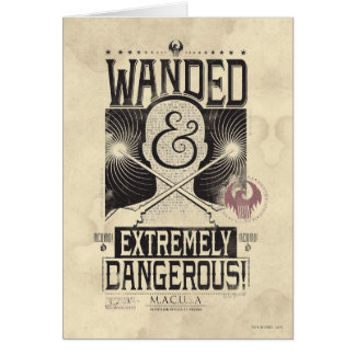 Wanded & Extremely Dangerous Wanted Poster - Black Card