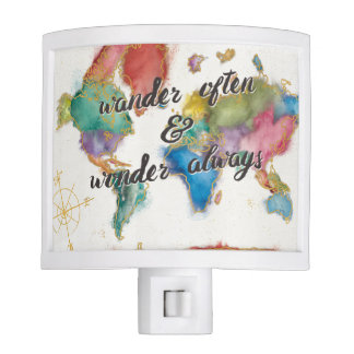Wander Often, Wander Always Map With Quote Night Lites
