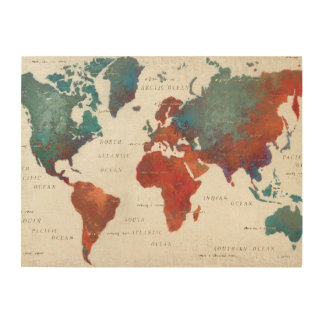 Wander Often, Wander Always Map With Quote Wood Canvas