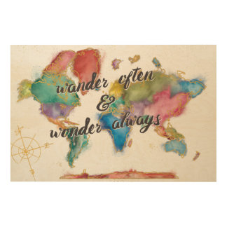 Wander Often, Wander Always Map With Quote Wood Wall Art