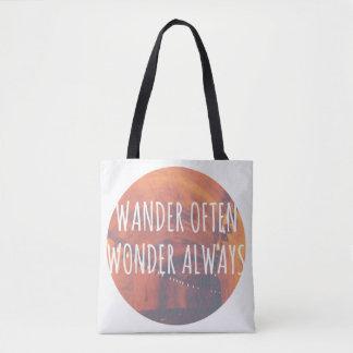 Wander Often, Wonder Always Tote Bag