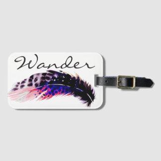 Wander Pink Bohemian Watercolor Feather Bag Tag